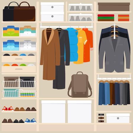 Kleidung Kleiderschrank Vektor-Illustration. Kleiderschrank Zimmer mit Herren Tücher in flachen Stil