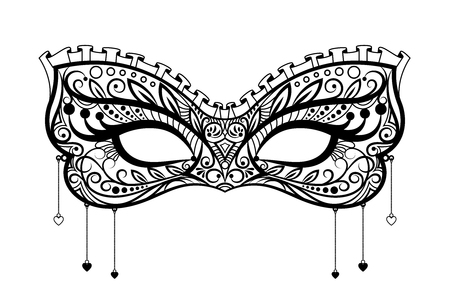 beauty mask: Elegant carnival mask. Black ornate lace masquerade mask. Vector illustration