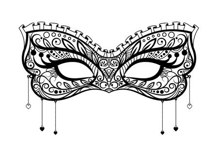 Elegant carnival mask. Black ornate lace masquerade mask. Vector illustration