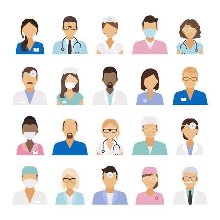 icônes du personnel médical. Les médecins et les infirmières staffs médicaux avatars. Vector illustration Vecteurs