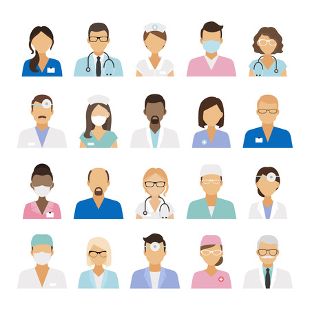 Icone personale sanitario. Medici e infermieri personale medico avatar. illustrazione di vettore Vettoriali
