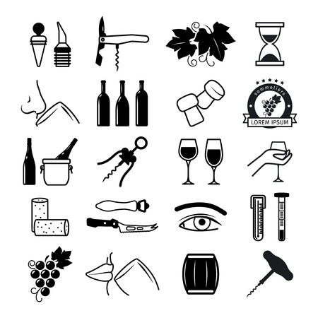 tasting: Tasting wine icons. Wine and sommelier icons. Vector illustration