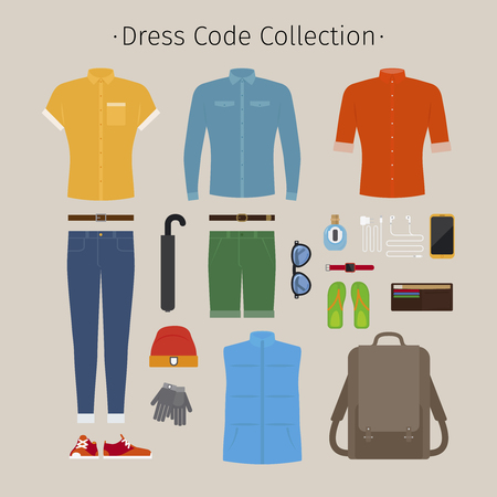 casual clothing: Casual clothing set. Everyday outfit and accessories vector illustration Illustration