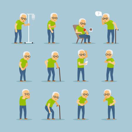 Oude man ziek. Oude mens ziekte vector illustratie