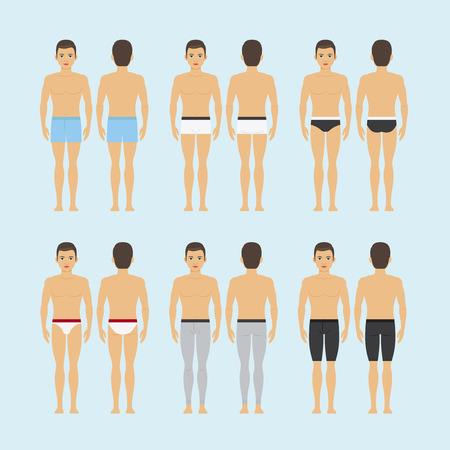 Mens underwear. Young man in different types of underwear vector illustration