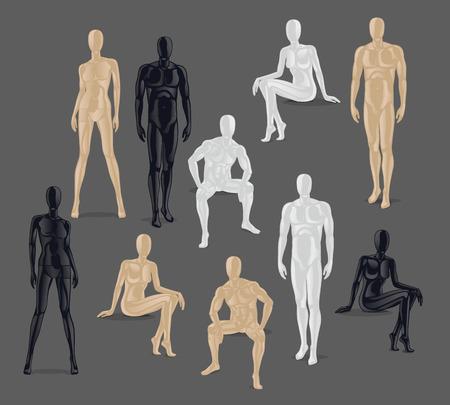Vettore isolato manichini. Diverse pose e colurs maschile e icone mannequin femminile.