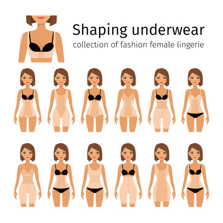 corrective: Woman in shaping lingerie or woman corrective underwear vector illustration