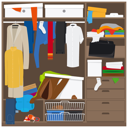 mess: Open wardrobe with mess clothes. Household mess vector illustration