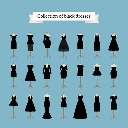 Little black dresses. Vector black dresses on mannequins