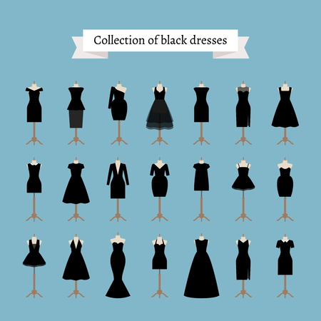 Little black dresses. Vector black dresses on mannequins