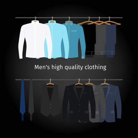 folded clothes: Business clothing on hangers. Mens casual clothing. Vector illustration
