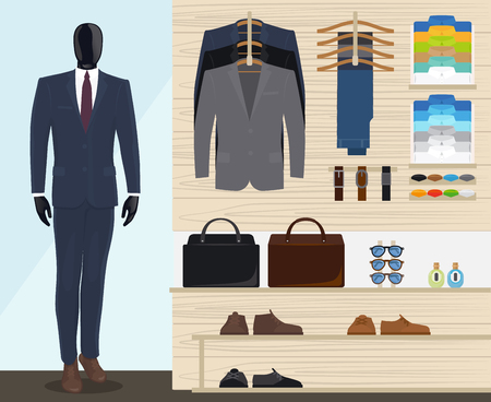 Man kledingwinkel vector illustratie. Mens kledingwinkel