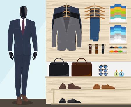 Uomo abbigliamento illustrazione negozio vettoriale. Mens negozio di abbigliamento