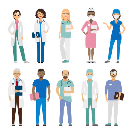 Hospital medical team. Medical staff vector illustration Vectores
