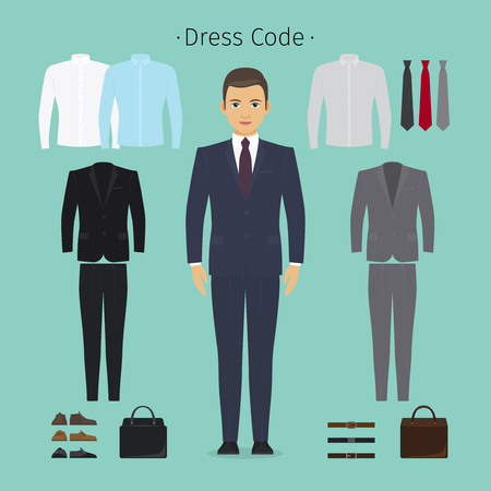 casual dress: Business man clothes. Young man in office clothes vector illustration