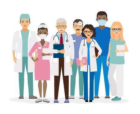 Équipe médicale. Groupe des travailleurs de l'hôpital illustration