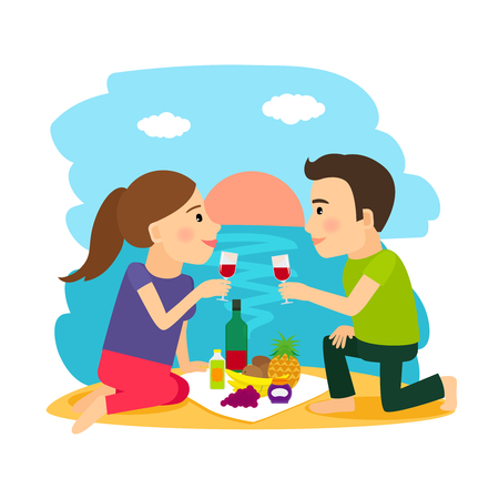 dinner date: Beach summer. Young couple having dinner on beach at sunset background illustration
