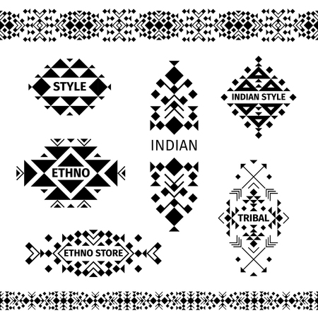 ethno: Ethno shop labels or tribal store black emblems on white background