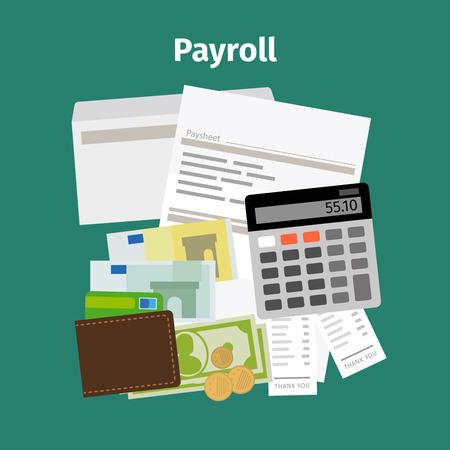 salarios: pago de salarios de n�mina y dinero concepto de salarios. ilustraci�n vectorial Vectores