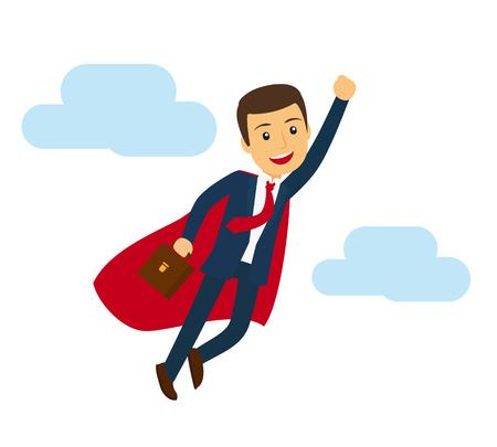 man flying: Office super business man flying icon. Businessman in superhero suit vector illustration Illustration