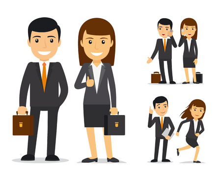 Business team. Businessman and business woman vector characters Illustration
