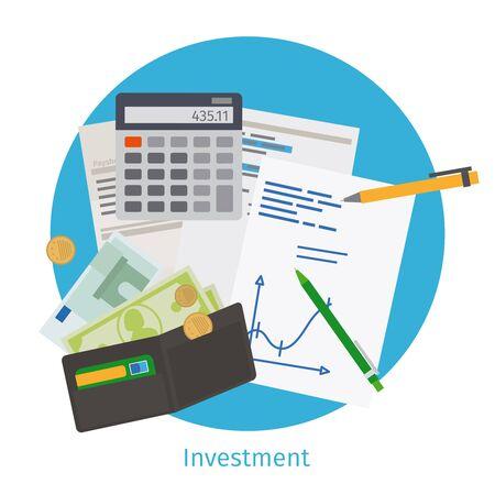 strategic management: Smart investment concept. Finance planning, strategic management and data analytics. Vector illustration Illustration