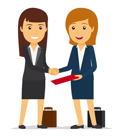 sucessful: Business women shaking hands and smiling. Vector illustration