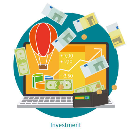investment concept: Financial investment. Financial education and online investment concept
