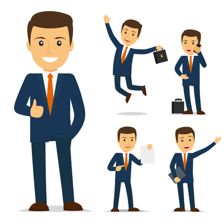 Businessman cartoon character in different poses. Vector illustration