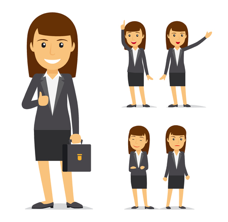Businesswoman vector cartoon character. Business lady smiling and angry, pointing with her hand 일러스트
