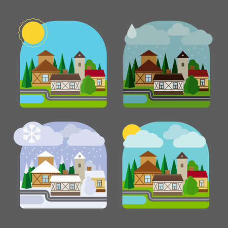 winter weather: Small town landscape in flat style. Four seasons colorful landscape icons. Vector illustration Illustration