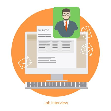 recruiting: Hire interview or job interview. Human resources recruiting sign. Vector illustration Illustration