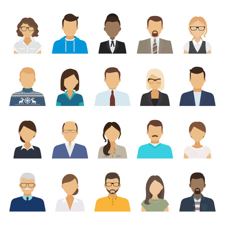 work clothes: Business people flat avatars. Men and women business and casual clothes icons. Vector illustration