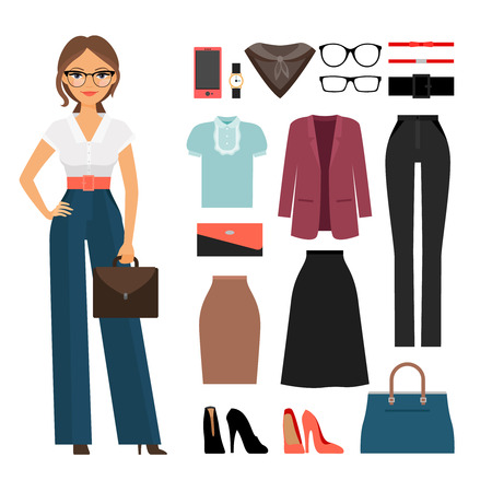 Business woman clothing. Woman in office clothes vector illustration