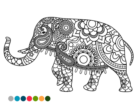 throat chakra: Elephant decorated mandala ornament coloring page with colors samples Illustration
