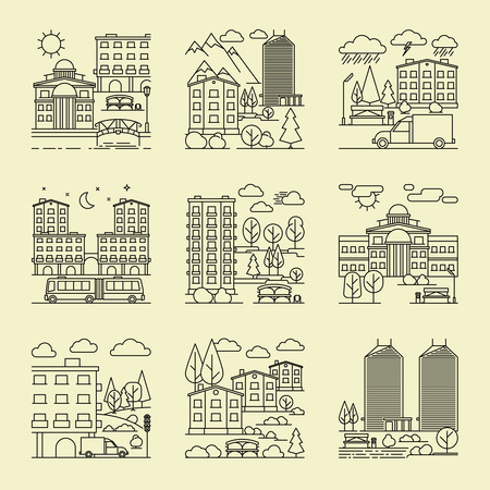 rain window: City linear style landscapes. City line concepts vector illustration