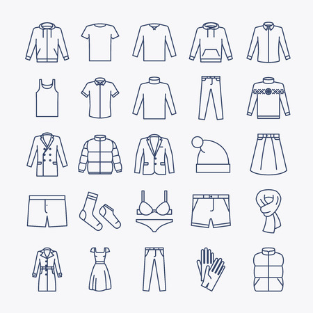 casual clothing: Clothes linear icons. Vector outline clothes icons on white background