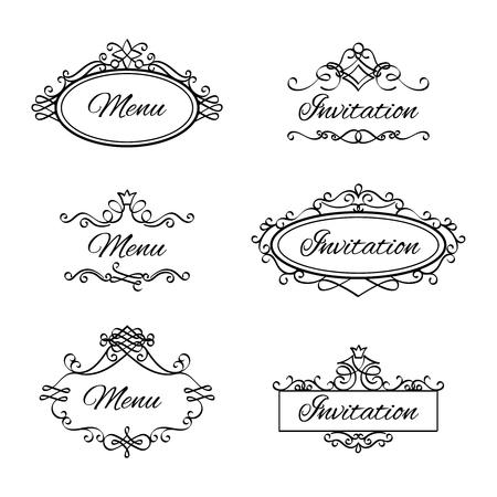 Kalligrafische vignetten voor menu en bloeit bloeit frames voor bruiloft uitnodiging. Vector illustratie