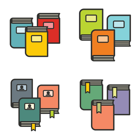 epublishing: Book icons in line flat style on white background for education