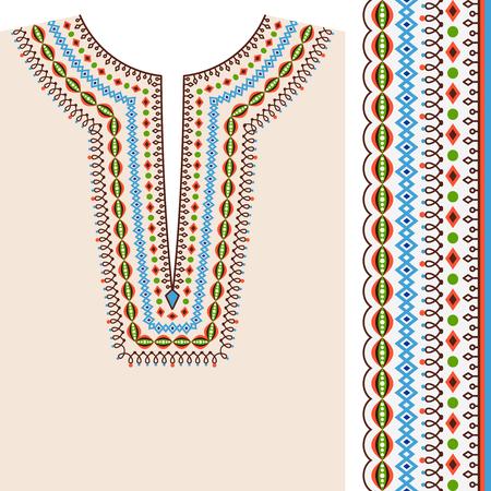 conception d'impression et le motif ethnique frontière vecteur ethnique Encolure pour la mode ethnique