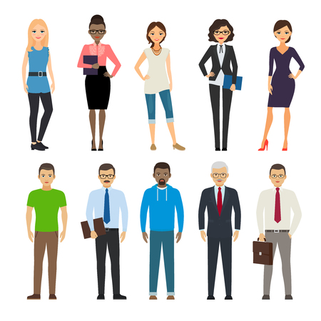 dressed: Business dressed and casual dressed people standing on white background. Vector illustration