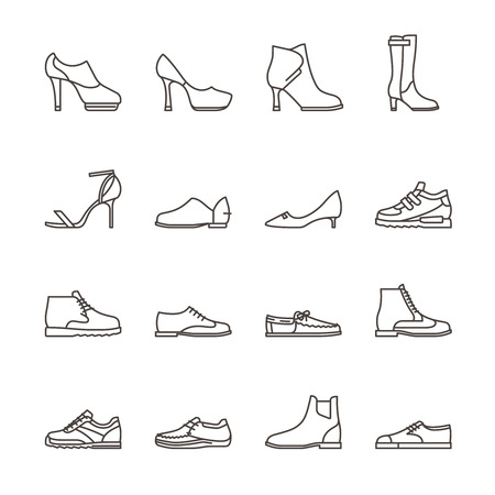 supportive: Shoes line vector icons. Sneakers and women shoes, footwear linear icons. Vector illustration