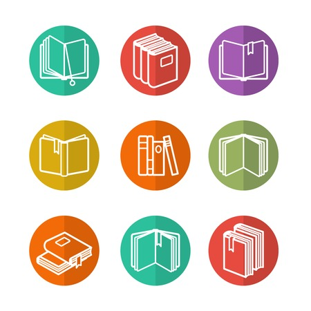 nonfiction: Colorful education icons set with line books isolated vector Illustration