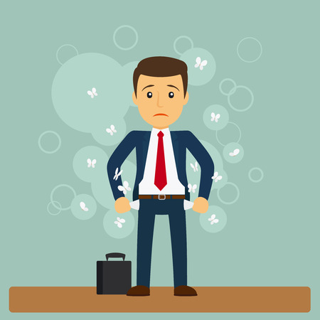 empty pocket: Businessman has no money. Business man standing with his pockets out. Vector illustration