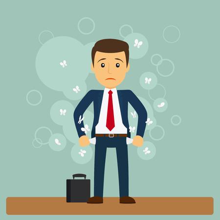 El hombre de negocios no tiene dinero. hombre de negocios de pie con los bolsillos hacia fuera. ilustración vectorial
