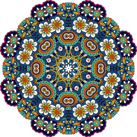 intricate: Symmetrical pattern with intricate blue  purple and green geometric detailed floral shapes and little yellow hearts over white background