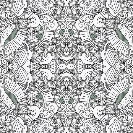 full frame: Full frame pattern background against white with ornamental floral designs and beautiful geometric elements Illustration