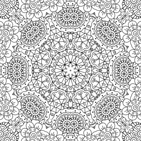 full frame: Gorgeous full frame geometric design background with floral patterns and circular elements