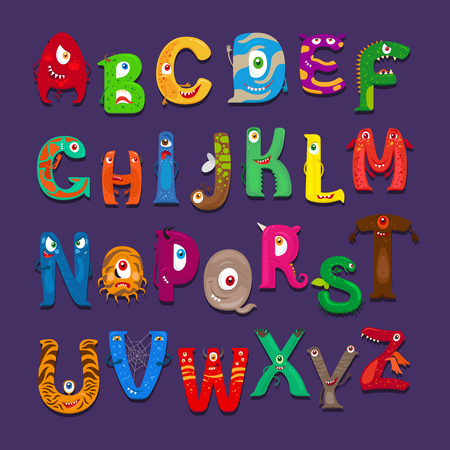 Funny Alphabet Vector Cute Funny Abc For Kids Scrapbook Royalty