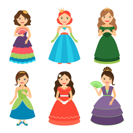 modest: Little princess girls with tiaras in long dresses vector illustration Illustration